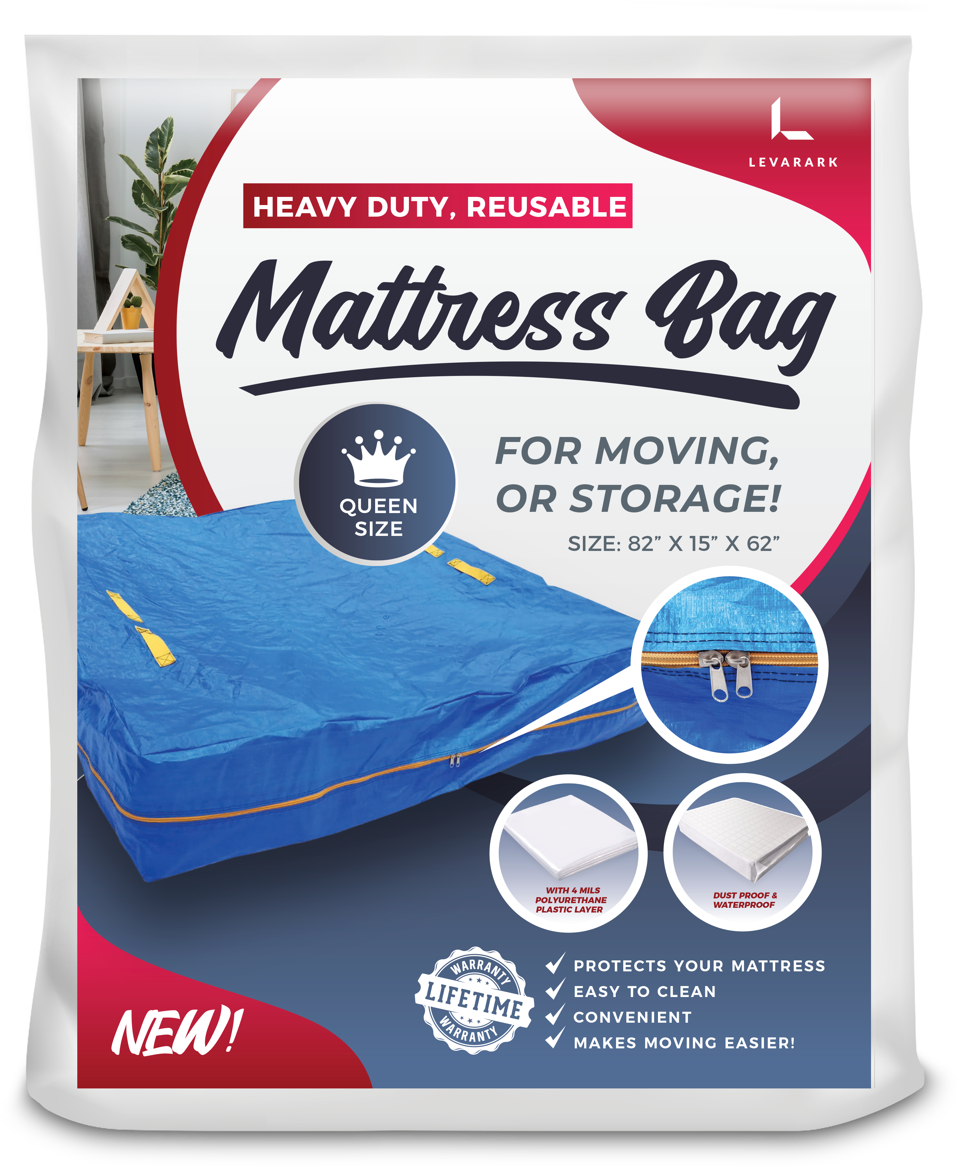 Reusable Mattress Bag for moving and storage - Levarark