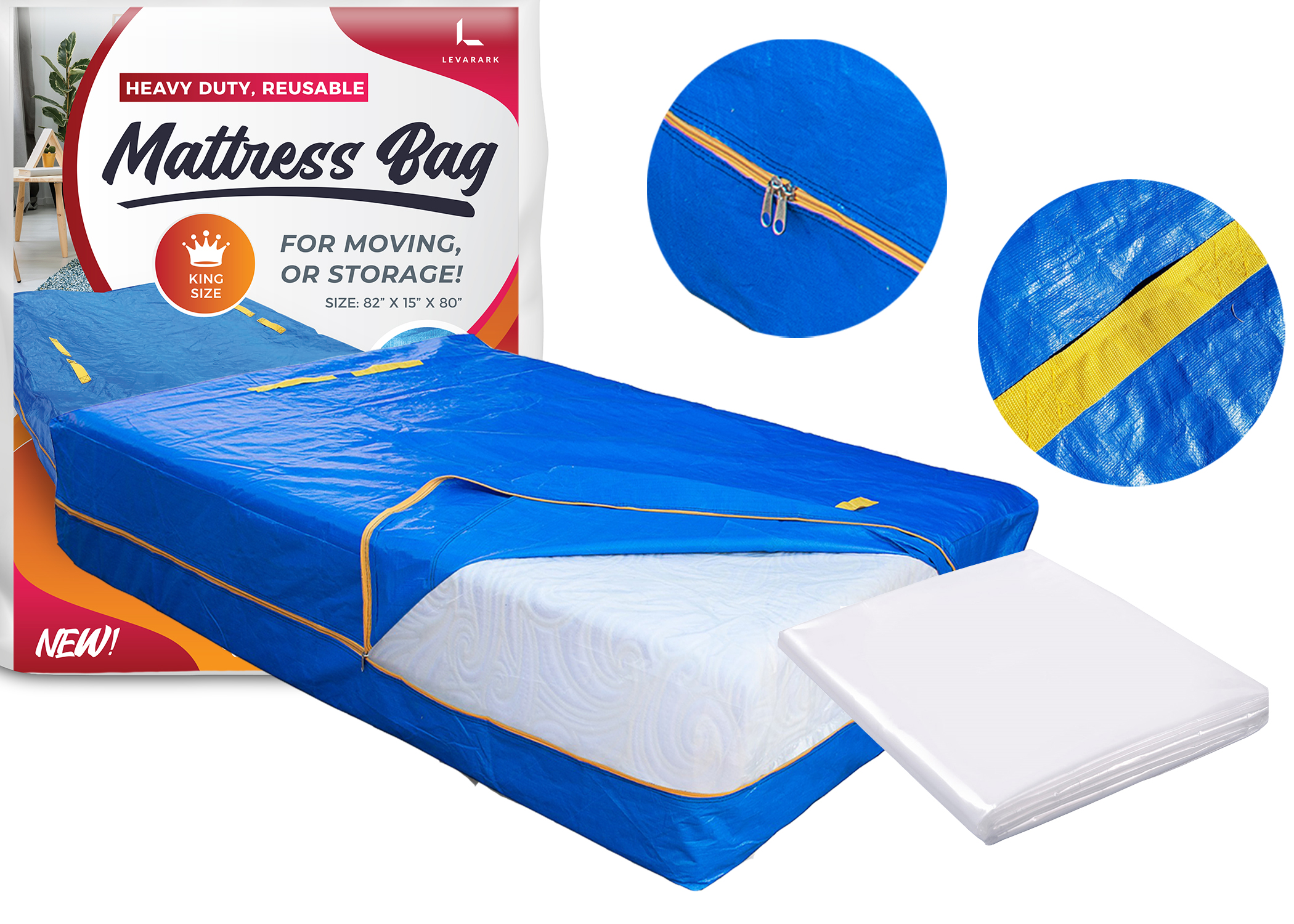 Levarark Mattress Bag For Moving And StorageCal King Double CoverHeavy Dut